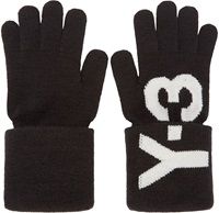 Y 3 Black Logo Knit Gloves
