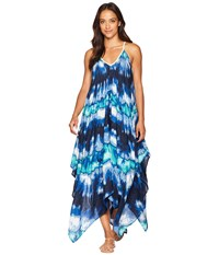Collection Xiix Tie Dye Cover Up Dress Blue Jam Multi