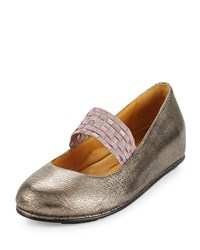 L'amour Des Pieds Corry Leather Mary Jane Flat Pewter Silver