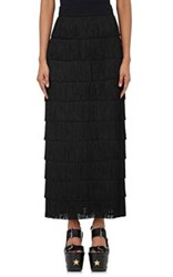 Stella Mccartney Women's Silk Tiered Fringe Maxi Skirt Black