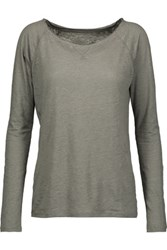Majestic Slub Linen And Silk Blend Top Anthracite