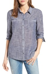 Caslonr Petite Women's Caslon Long Sleeve Crinkle Cotton Shirt Navy Crosshatch Pattern