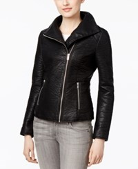 Rachel Roy Textured Faux Leather Moto Jacket Only At Macy's Black