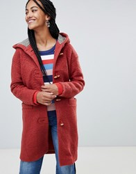 Esprit Hooded Toggle Coat With Check Lining Orange