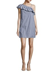 Beach Lunch Lounge Striped One Shoulder Dress White Navy