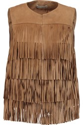 Alice Olivia Walker Fringed Suede And Cotton Poplin Vest Tan