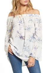 Women's Bp. Off The Shoulder Tunic Ivory Egret Abstract Floral