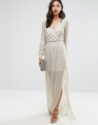Club L Wrap Front Maxi Dress In Gold Gold