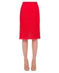 Akris Punto Circle Embroidered Pencil Skirt Sport Red