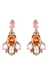 Oscar De La Renta Women's Crystal Chandelier Earrings Light Pink