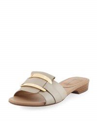 Neiman Marcus Belicia Leather Flat Slide Sandal Brown