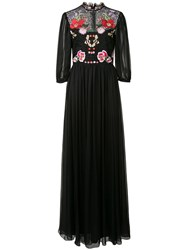 Temperley London Floral Patches Sheer Dress Black