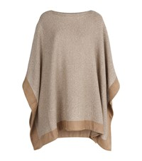 Polo Ralph Lauren Cashmere Blend Suede Trim Poncho Female Brown