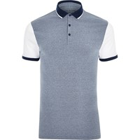 River Island Mens Blue And White Muscle Fit Polo Shirt