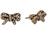 Marc Jacobs Bow Pave Twisted Studs Earrings Crystal Antique Gold Earring Clear