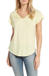 Nydj Women's Lace Trim Linen Blend Tee Soleil