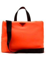 Prada Logo Embellished Padded Nylon Tote Bag Orange
