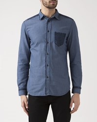 Diesel Denim Pocket Blue Micro Chevron Jerry Shirt