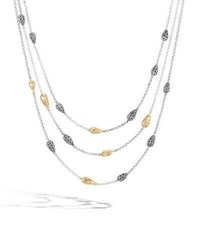 John Hardy 18K Classic Chain Hammered Multi Row Necklace Yellow Silver
