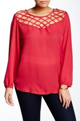 Eyeshadow Long Sleeve Open Neck Blouse Plus Size Red