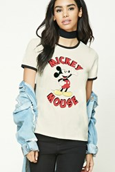 Forever 21 Mickey Mouse Graphic Ringer Tee Cream Red