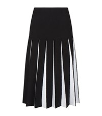 D.Exterior Pleated Two Tone Midi Skirt Female Black