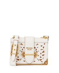 Prada Cahier Notebook Laser Cut Shoulder Bag Black