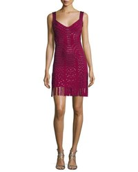 Herve Leger Sleeveless Grommet Fringe Skirt Bandage Dress Dark Maroon Combo