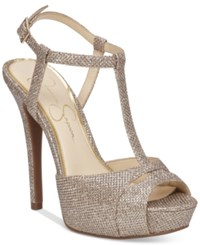 Jessica Simpson Barretta T Strap Platform Dress Sandals Women's Shoes Gold