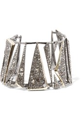 Alexis Bittar Gunmetal And Gold Tone Crystal Cuff One Size