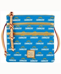 Dooney And Bourke San Diego Chargers Triple Zip Crossbody Bag Blue
