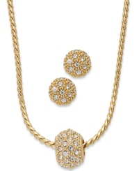 Charter Club Gold Tone Pave Crystal Ball Necklace And Earring Jewelry Set