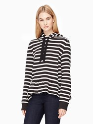 Kate Spade Stripe Hooded Sweatshirt Black Cream