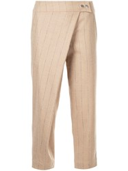 Nehera Pinstripe Wrap Trousers Polyamide Spandex Elastane Mohair Virgin Wool Brown
