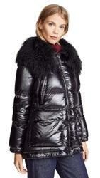 Add Down Jacket With Fur Border Black