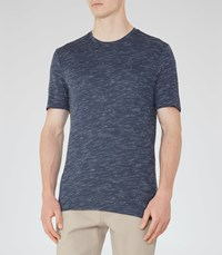 Reiss Fordon Mens Flecked Crew Neck T Shirt In Blue