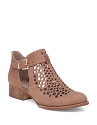 Vince Camuto Codey Perforated Suede Ankle Strap Booties Dark Beige