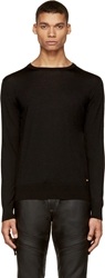 Versace Black Fine Wool Knit Crewneck Sweater