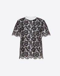 Valentino Heavy Lace T Shirt Black Cotton 100