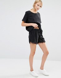 Just Female Quil Lace Trim Shorts Black