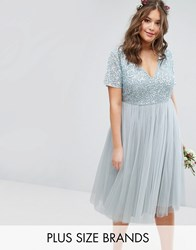 Lovedrobe Luxe Cap Sleeve V Neck Midi Dress With Delicate Sequin And Tulle Skirt Ice Blue