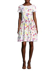 Oscar De La Renta Floral Print A Line Dress White Multicolor