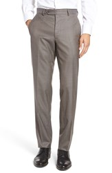 Peter Millar Men's Big And Tall Multi Season Flat Front Merino Wool Trousers Sand Dune