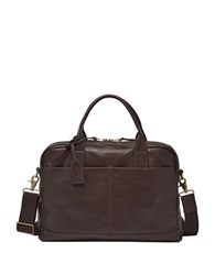 Fossil Defender Wyatt Leather Workbag Dark Brown