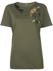 Alexander Mcqueen Insect Embroidered T Shirt Green
