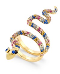 Kate Spade New York Gold Tone Colored Crystal Snake Ring Multi