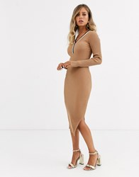 Morgan Knitted Jumper Dress With Contrast Stripe In Camel Tan