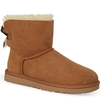 Ugg Mini Bailey Bow Sheepskin Ankle Boots Brown