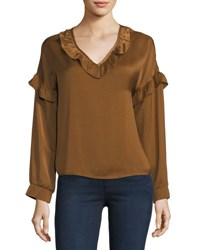 Goldie London Majestic Charmeuse Ruffle Blouse Brown