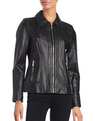 Michael Michael Kors Slim Fit Seamed Leather Jacket Black